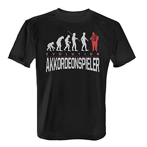 Fashionalarm Herren T-Shirt - Evolution Akkordeonspieler | Fun Shirt mit Motiv als Geburtstag Geschenk Idee Musiker Akkordeon Musik Hobby Beruf, Farbe:Schwarz;Größe:XS -