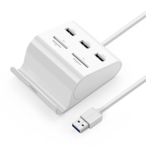 Ugreen hub usb 3.0, 7 in 1 multi hub con 3 porte e lettore di schede con 4 slot sd / tf / ms / m2 con supporto per telefono e tablet superspeed fino a 5gbps per imac, macbook air, macbook pro, macbook, mac mini, macbook retina, windows surface pro, ideapad e altro computer. cavo usb 3.0 da 100cm, nero.