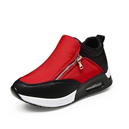 Damen Sneakers Reißverschluss Leichtgewicht Sportliche Winter Pastryschuhe Rot