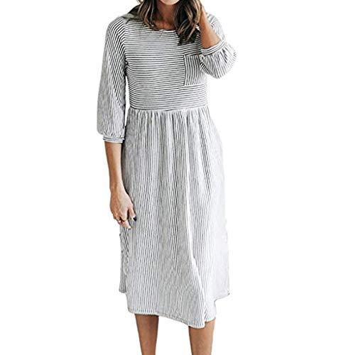 OIKAY Damen Casuel Hemdkleid Shirt Kleid Women - Halbarm-Kleid mit gestreiftem Ärmel und O-Ausschnitt Kleider -