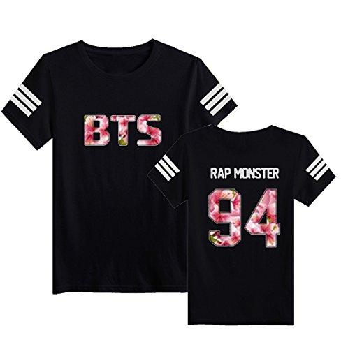 ex Tee Kpop BTS T-Shirt Bangtan Jungen Coole Hip Pop Jin Suga J-Jope Rap Monster Jimin V Jung Kook Top Damen Herren Oberteil T Shirt Rap Monster Schwarz DE 34 (Monster Inc T Shirts)