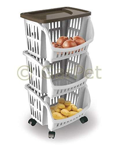 Bama Spa Küchenregal eckig schmal Obstregal Küchen Trolley Etagen Roll Wagen Schrank (Küche Trolleys)