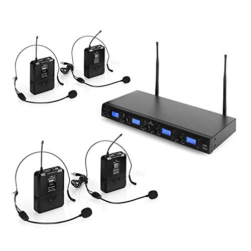 MALONE UHF-550 Quartett2 - M 2.2, Set Microfoni Wireless, 4 Microfoni Radiofonici, Microfoni ad Archetto, Frequenza: 823-832 MHz per Canale, 1 x Uscita Jack, 4X XLR, Schermo LCD, Color Nero