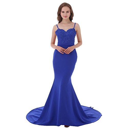 Aiyana Damen Herz-Auschnitt Burgund Spitze Langes Meerjungfrau Prom Abendkleid Party Kleid Blau