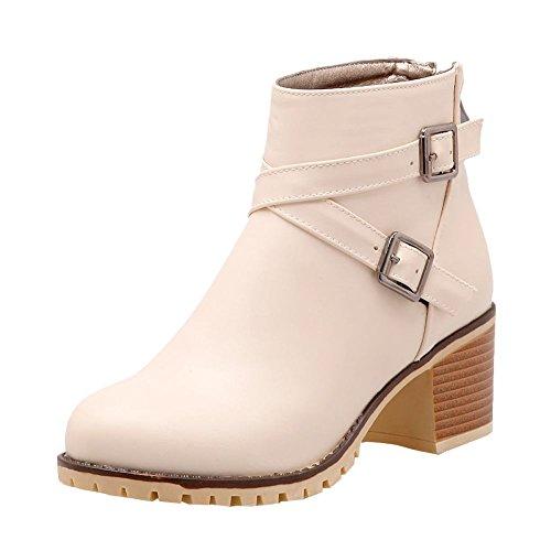 Mee Shoes Damen Reißverschluss chunky heels Ankle Boots Aprikose