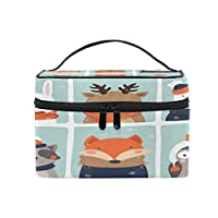 Makeup Bag Cosmetic Case Beauty Box Hairdressing Tools Organizer Storage Box Brush Pouch Toiletry Wash Bag Portable Travel Makeup Case Pouch For Women Girls-Cute Animals Owl Fox