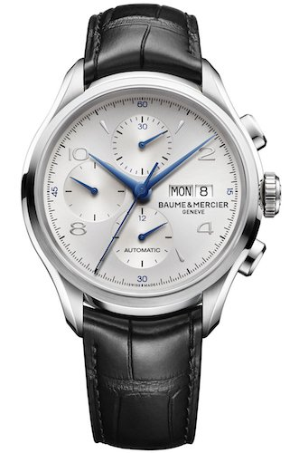 baume-mercier-clifton-mens-automatic-watch-with-silver-dial-chronograph-display-and-black-leather-st