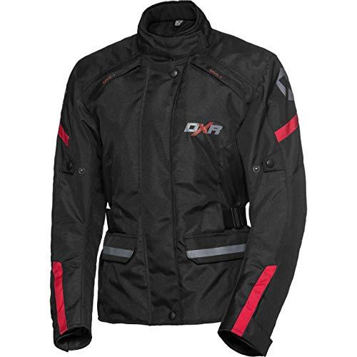 DXR Motorradschutzjacke, Motorradjacke Damen Tour Textiljacke 5.0, Motorradjacke Damen, wasserdicht, Winddicht, atmungsaktiv, Weitenverstellung, Reflektoren, Thermofutter, Protektoren, Schwarz, L