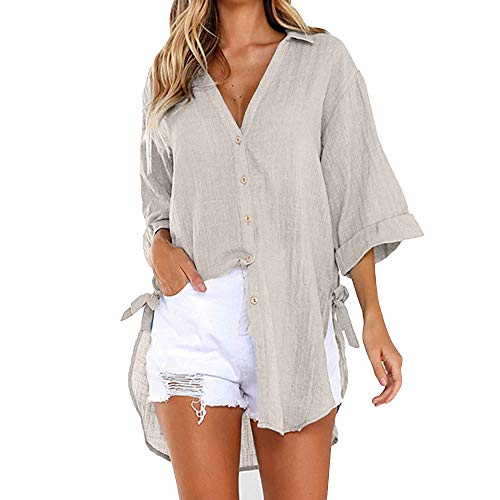 Damen Shirt Langarm Casual Ripped Scoop Neck Button Basic-Oberteile,Frauen Casual Button Langarm Shirt,Mode Sommer Herbst Elegant Schal Solide Langarm Knopf Bluse Pullover Tops Shirt mit Taschen