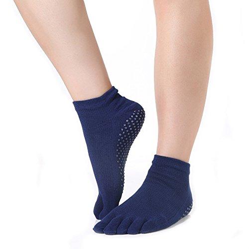 Rutschfeste, ganzfarbige Yoga-Socken für Damen mit ganzen Zehen und griffigen Noppen für Ballettstangen-,Pilates-, Yoga-Übungen, damen, navy - Greifer Zehen-socken