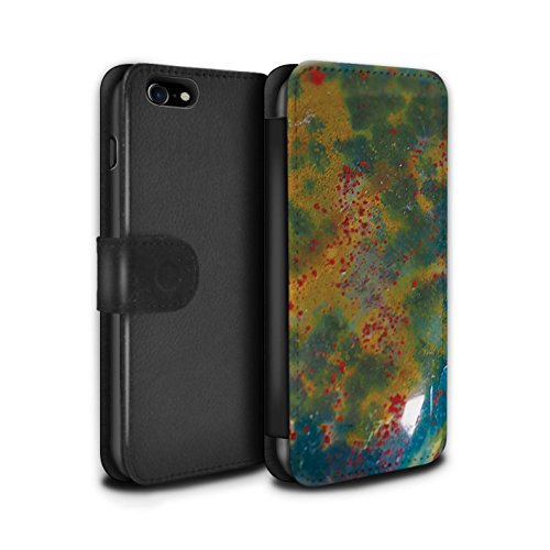 STUFF4 PU-Leder Hülle/Case/Tasche/Cover für Apple iPhone 8 Plus / Februar/Amethyst Muster / Edelstein/Stein Kollektion Marsch/Blutstein