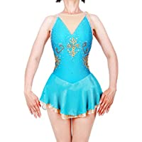 Vestido De Patinaje Sobre Hielo Hecho A Mano para Niñas, Traje De Competición De Patinaje Artístico Azul con Cristales Sin Mangas,S