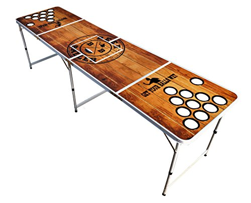 BeerBaller PREMIUM Beer Pong Tisch - Hochwertiges Holzdesign [wasserabweisend] - Integriertes Kühlfach - Löcher für Becherstabilität und Bällehalter [Inkl. 6 Bälle GRATIS]