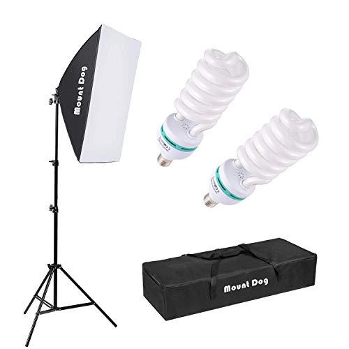 MOUNTDOG Dauerlicht Softbox Set Fotostudio Softboxen Kit Fotografie Fotoleuchte Studio Lights Studioleuchte Beleuchtung Fotolicht 2x135W Tragetasche...