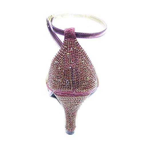 W & W femmes Mesdames Diamante mariage mariée soirée fashion Sandales Taille 4–10(Tina) Bordeaux