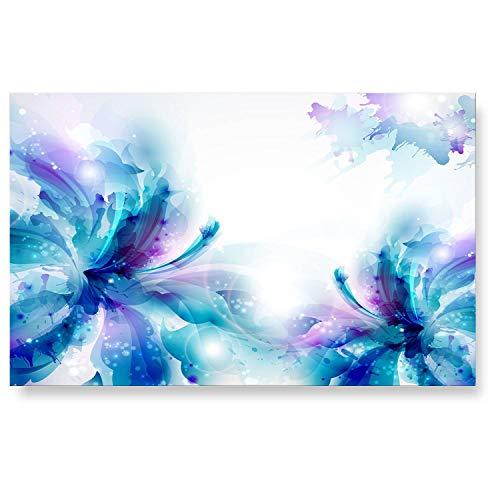 """LanaKK - Küchenrückwand - Glasbild\""""Feenstaub\"""" Abstraktes Design Edler Glas-Kunstdruck Hinter 6 mm starkem Sicherheitsglas - Blau in 90 x 60 cm"""