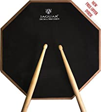 "JAGUAR DRUMS AND PERCUSSION CO. 12"" Inches Red Black Dual Sided Drum Practice Mute Pad +Bag+Original Drumsticks"