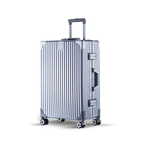 Qzny Koffer, Trolley Reisetasche Vintage Silber Luxus Gepäck Große Kapazität Handtasche Hardshell Tragbare Kabinenkoffer Durable New (Farbe : EIN, Größe : 42 * 26 * 72cm)