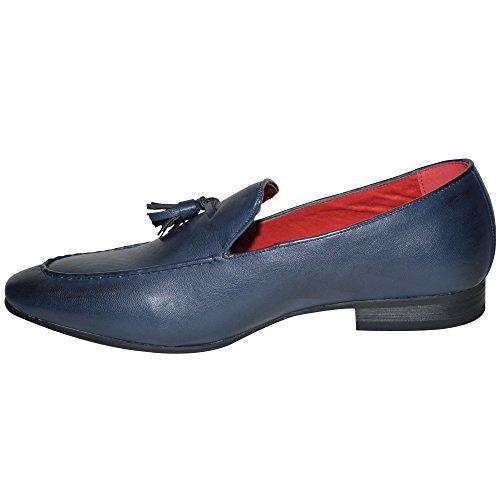 Cuir Pour Hommes doublé Mocassins À Enfiler Conduite DÉcontracté Chaussures De Bureau Conception De Gland ROYAUME-UNI é Bleu