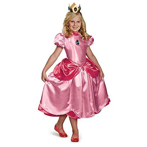 Costume da giovane principessa Peach deluxe bambina 4 à 6 ans
