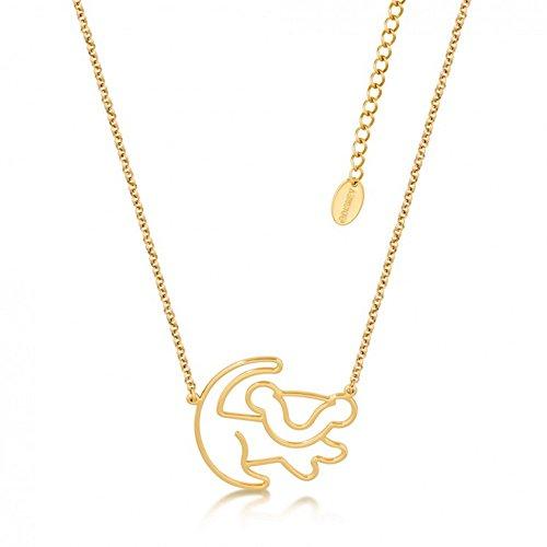 """Disney Couture–Collar chapado en oro con una miniatura del perfil de Simba de """"El rey león"""""""