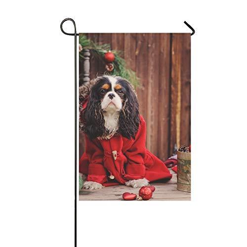 JOCHUAN Dekorative Outdoor Double Sided Cavalier King Charles Spaniel Hund feiert Garten Flagge, Haus Yard Flagge, Garten Yard Dekorationen, saisonale Willkommen Outdoor Flagge -