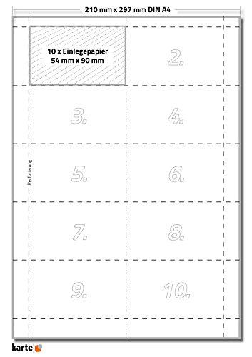 100 x Karteo® Einsteckschild | Beschriftungsschilder | Einleger 160g/m² | weiß hochwertiges perforiertes Papier für Durable Formate 90 x 54 mm auf 10 Stk. DIN A4 Bögen zum Selbstbedrucken beidseitig