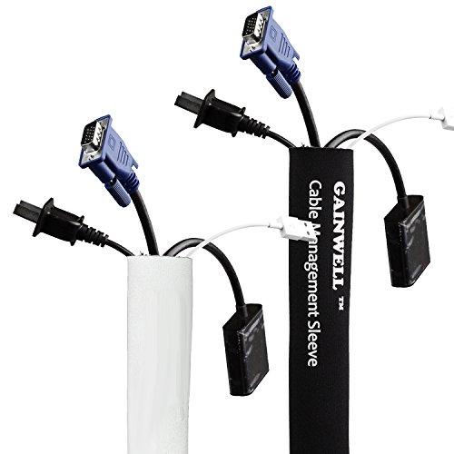 gainwell-funda-organizadora-de-cables-150cm-de-velcro-ajustable-reversible-blanco-y-negro