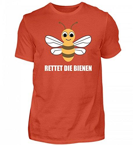 Shirtee Hochwertiges Herren Rettet Die Bienen Orangerot