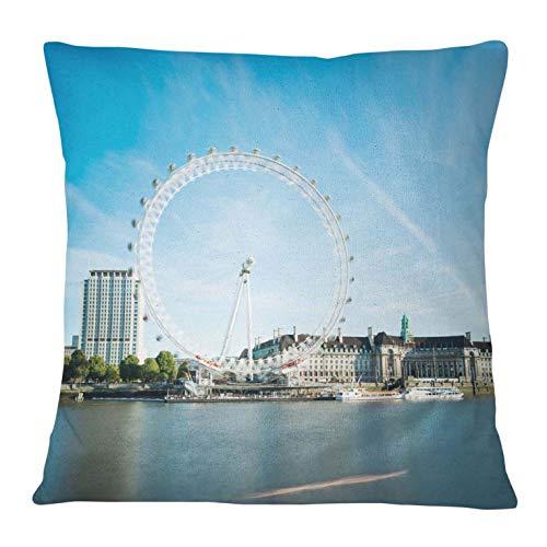 Timingila Azul Satin Fundas de colchón London Eye Cojines Decorativos Fundas de...