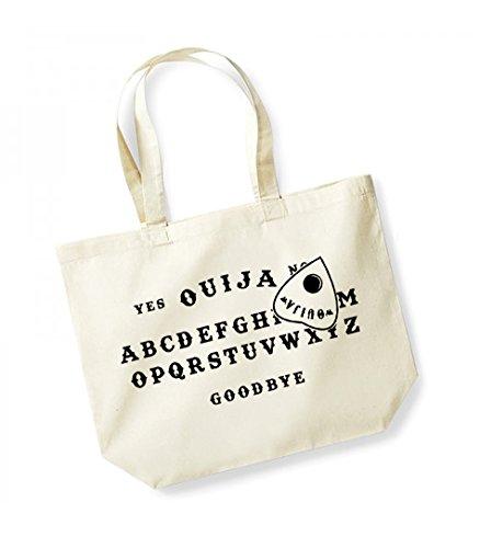 Ouija Board- Large Canvas Fun Slogan Tote Bag Natural/Black