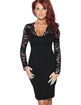 e9aec21c4417 Haroty Donna Vestito Pizzo Elegante Moda al Ginocchio Abito Manica Lunga  Autunno Vestiti da Sera Partido