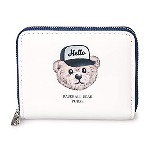 Fency Women's Baseball Bear Wallet Small Matte Synthetic Leather Zip Around Purse (White-2)