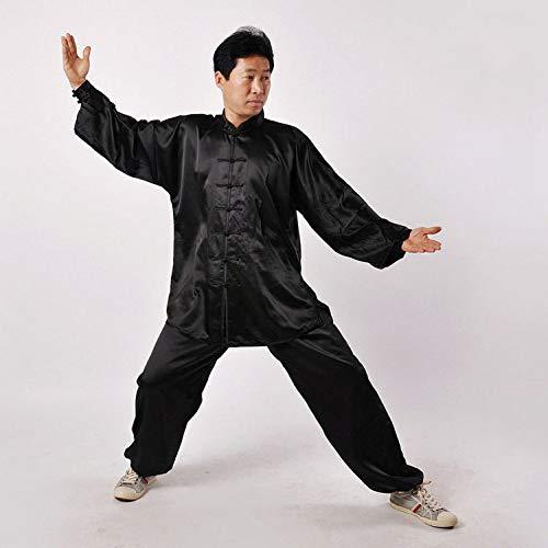 KOUYNHK Tai Chi Anzug Herren,Chinoiserie Traditionell Shaolin Kung Fu Kampfkunst Qi Gong Kostüm Unisex Lange Ärmel Seide Set,Black-M