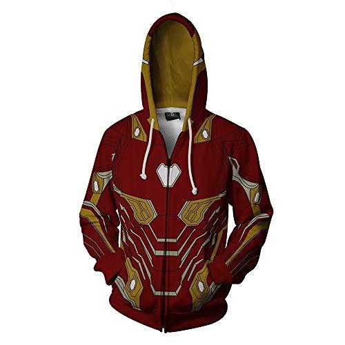 RJHWY 3D Hoodie Sweatshirt Unisex Pullover Kapuzenjacke Kleidung Mantel Reißverschluss Iron Man L