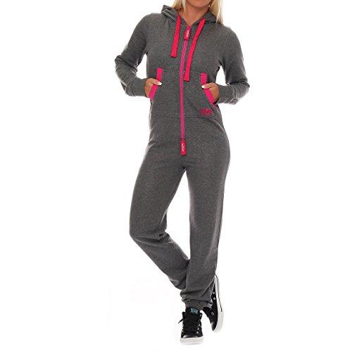 99U2 Finchgirl Pinked Damen Jumpsuit Jogger Einteiler Jogging Dunkelgrau - 2
