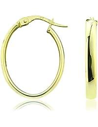 Créoles ovales classiques - Femmes - Or Jaune 9 carats Jewelco London