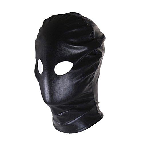 Healifty Unisex Lackleder-Kapuze, offene Augen, Gesichtsmaske, Cosplay, Kostüm, Kopfbedeckung (schwarz) (Gimps Kostüm)
