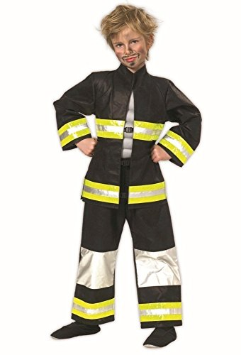 Feuerwehrmann Ideen Kostüm (Feuerwehr Kostüm schwarz-weiß-gelb für Jungen | Größe 152 | 2-teiliges Feuerwehrmann Kostüm Karneval | Helden Faschingskostüm für)