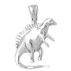 JewelsObsession's 24 k Or Blanc 14 mm Spinosaurus pendentif dinosaure Charm