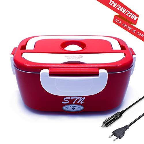 STN Scaldavivande Elettrico Portatile,Scaldavivande 12V/24V/220V 3 in 1 per Auto e Ufficio - Scaldavivande Elettrico in Acciaio Inox 40W 1.5L con Cucchiaio e Due Scomparti
