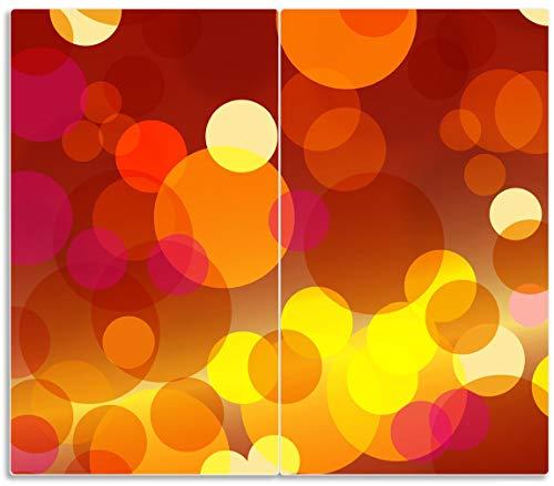 Wallario Herdabdeckplatte/Spritzschutz aus Glas, 2-teilig, 60x52cm, für Ceran- und Induktionsherde, Rote gelbe und orange Kreise - harmonisches Muster