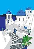 Rahmen-Kunst Keilrahmen-Bild - Jen Bucheli: Santorini Leinwandbild Griechenland Inseln Meer Urlaub