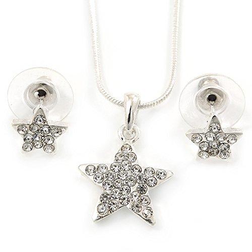Set gioielli di cristallo austriaco trasparente. ciondolo a forma di stella con catenina e orecchini. lunghezza: 40 cm allungabile di 5 cm, in confezione regalo