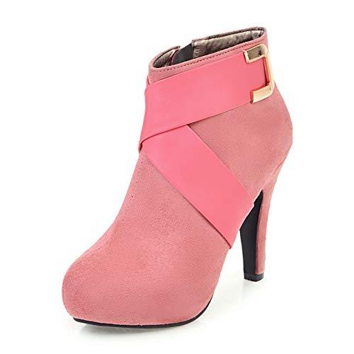 MENGLTX High Heels Sandalen Elegante Frauen Strap Ankle Booties Big Größe 34-43 High Heels Schuhe Frau Frühling Winter Party Schuhe 6,5 Rosa Rosa Ankle Strap High Heel