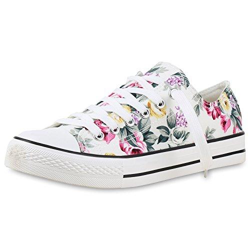 damen-schuhe-sneakers-weiss-flower-muster-40