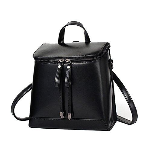 Frauen Vintage-PU-Leder Rucksack Schultertasche Reise Laptop Handtasche Rucksack Multicolor Black