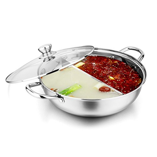 Stainless Steel Shabu Shabu Hot Pot With Divider And Ladles, 33cm , By Bruntmor