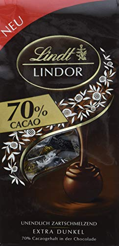 Lindt Lindor Beutel 70{c8be5e27e47098e990a1cacaf992ed71aaa7e72f5730a33750bc8c5405c70b21} Cacao, Extra dunkel, 11 Kugeln, 4er Pack (4 x 136 g)