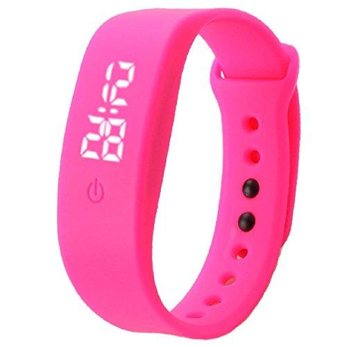 Preisvergleich Produktbild OVERDOSE Damen Herren Gummi Uhr Datum Sports Armband Digital Armbanduhr (Hot Pink)